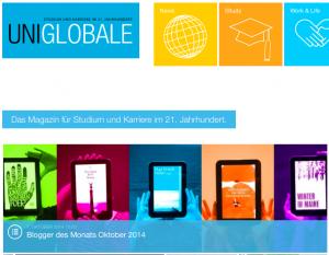 Blogger des Monats Oktober 2014. Screenshot: www.uniglobale.com
