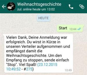 Screenshot: Anmeldung zru Weihnachtsgeschichte per Whatsapp vom Bistum Essen
