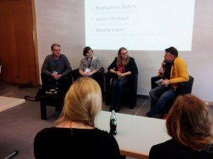 LBM 17 – Podiumsdiskussion mit (v.l.n.r.) Jochen Kienbaum, Mareike Krause, Bozena Anna Badusa und Moderator Wolfgang Tischer