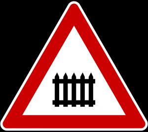 Bahnübergangsschild als Sinnbild für Bezahlschranken im Online-Journalismus.